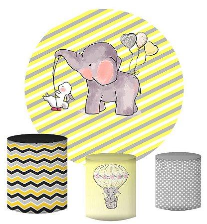 Kit Painel Redondo De Festa e Capas de Cilindro em tecido sublimado Elefantinho Fundo Amarelo