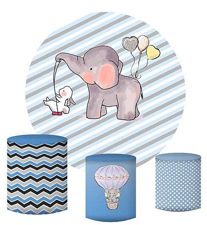 Kit Painel Redondo De Festa e Capas de Cilindro em tecido sublimado Elefantinho Fundo Azul