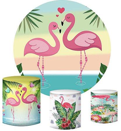 Kit Painel Redondo De Festa e Capas de Cilindro em tecido sublimado Flamingos