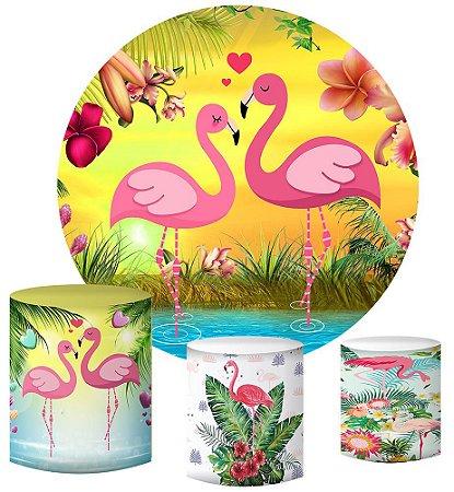 Kit Painel Redondo De Festa e Capas de Cilindro em tecido sublimado Flamingos Românticos