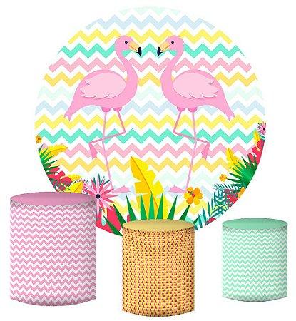 Kit Painel Redondo De Festa e Capas de Cilindro em tecido sublimado Flamingos Fundo Colorido