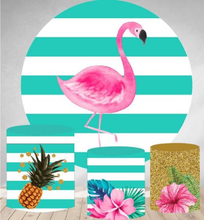 Kit Painel Redondo De Festa e Capas de Cilindro em tecido sublimado Flamingo Tropical
