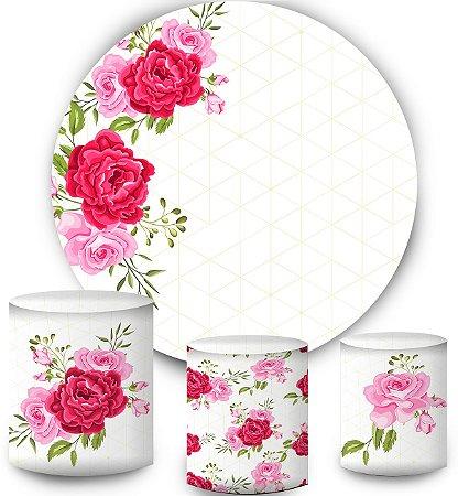 Kit Painel Redondo De Festa e Capas de Cilindro em tecido sublimado Flores Rosas