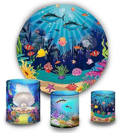 Kit Painel Redondo De Festa e Capas de Cilindro em tecido sublimado Fundo do Mar