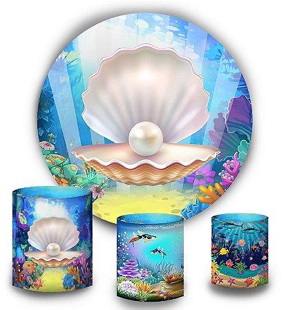 Kit Painel Redondo De Festa e Capas de Cilindro em tecido sublimado Cocha Fundo do Mar