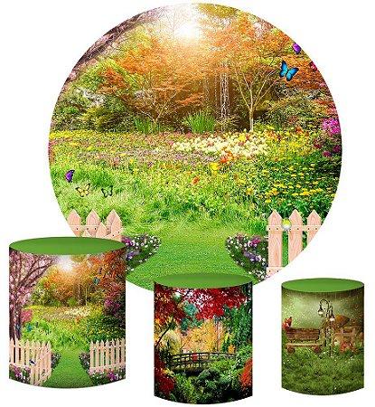 Kit Painel Redondo De Festa e Capas de Cilindro em tecido sublimado Jardim Primavera