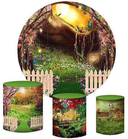 Kit Painel Redondo De Festa e Capas de Cilindro em tecido sublimado Jardim Secreto