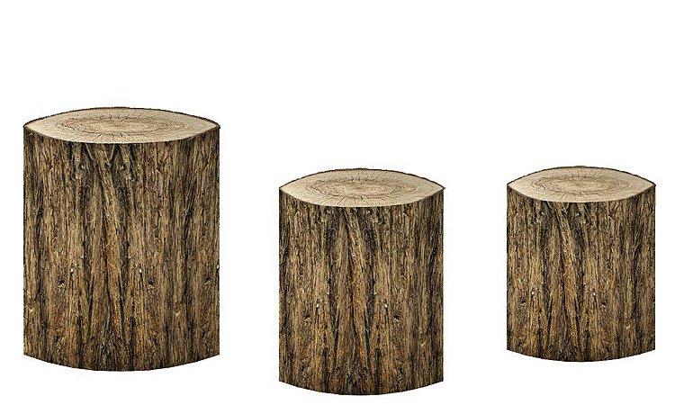 Kit Capas de Cilindro de festa em tecido sublimado Tronco de Árvore mod4