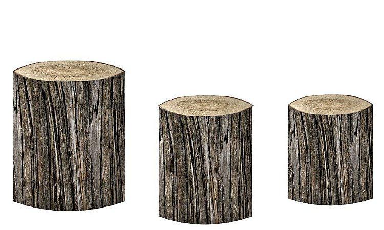 Kit Capas de Cilindro de festa em tecido sublimado Tronco de Árvore mod6