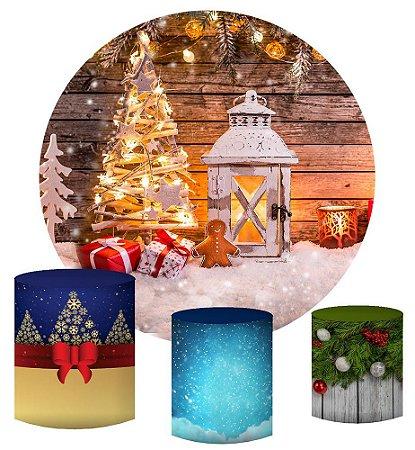Kit Painel Redondo De Festa e Capas de Cilindro em tecido sublimado Natal Encantado