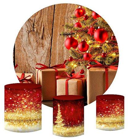 Kit Painel Redondo De Festa e Capas de Cilindro em tecido sublimado Presentes de Natal
