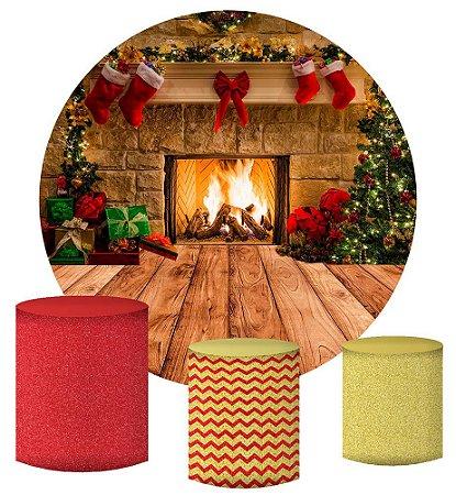 Kit Painel Redondo De Festa e Capas de Cilindro em tecido sublimado Linda Lareira de Natal