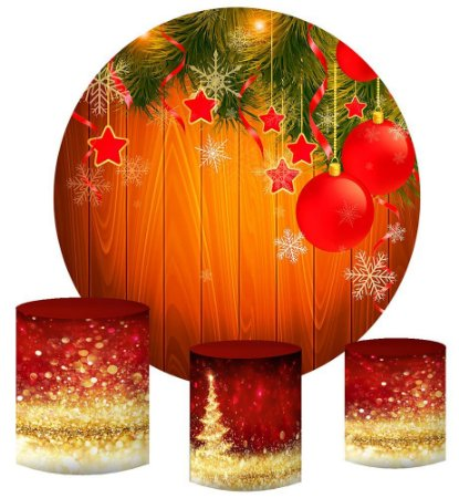 Kit Painel Redondo De Festa e Capas de Cilindro em tecido sublimado Bolinhas de Natal