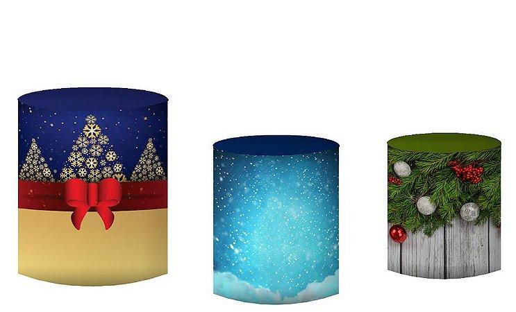Kit Capas de Cilindro de festa em tecido sublimado Natal Mod1