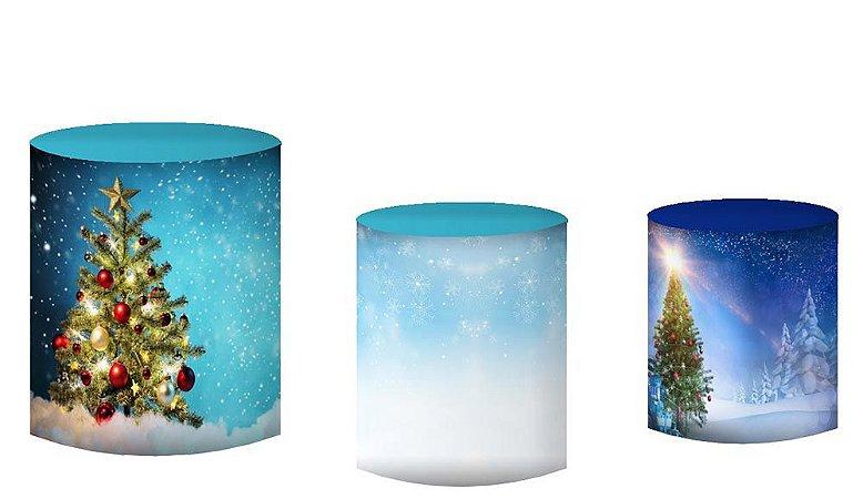 Kit Capas de Cilindro de festa em tecido sublimado Natal Mod5