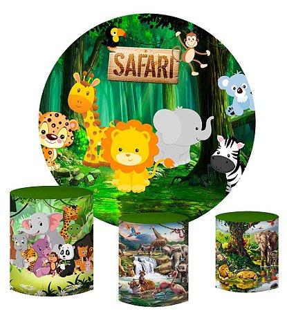 Kit Painel Redondo De Festa e Capas de Cilindro em tecido sublimado Safari Cute Mod2