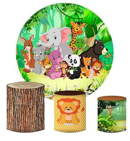 Kit Painel Redondo De Festa e Capas de Cilindro em tecido sublimado Selva Safari Mod2