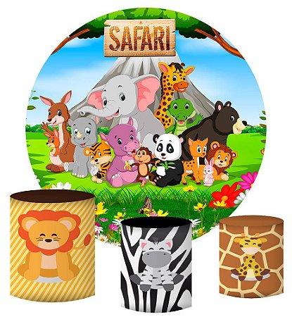 Kit Painel Redondo De Festa e Capas de Cilindro em tecido sublimado Animais do Safari