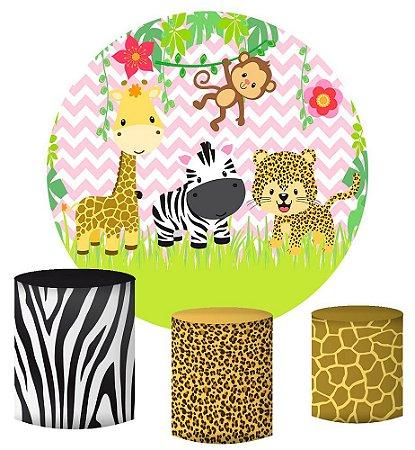 Kit Painel Redondo De Festa e Capas de Cilindro em tecido sublimado Lindo Safari