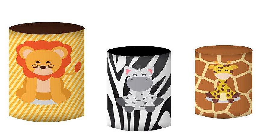 Kit Capas de Cilindro de festa em tecido sublimado Safari Mod2