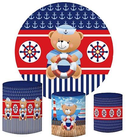 Kit Painel Redondo De Festa e Capas de Cilindro em tecido sublimado Ursinho Marinheiro