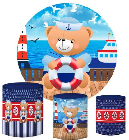 Kit Painel Redondo De Festa e Capas de Cilindro em tecido sublimado Lindo Ursinho Marinheiro