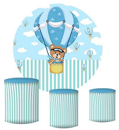 Kit Painel Redondo De Festa e Capas de Cilindro em tecido sublimado Ursinho Baloeiro Azul