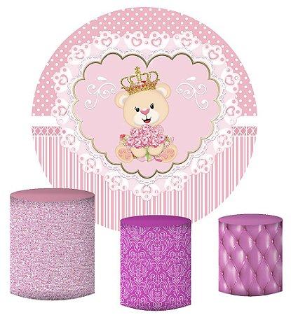 Kit Painel Redondo De Festa e Capas de Cilindro em tecido sublimado Ursinha Princesa