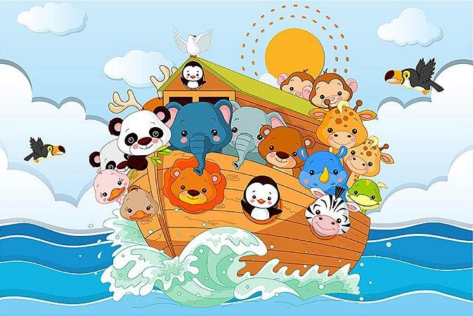Painel de Festa em Tecido Sublimado 3d Mar Arca de Noé