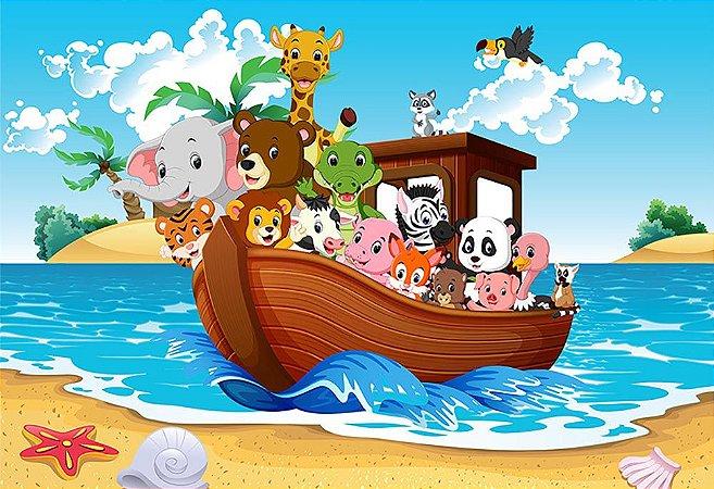 Painel de Festa em Tecido Sublimado 3d Arca de Noé