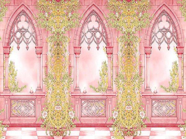 Painel de Festa em Tecido Sublimado 3d Arcos Rosa