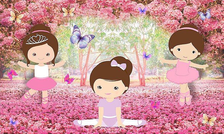 Painel de Festa em Tecido Sublimado 3d Bailarinas Floresta