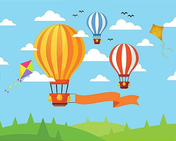 Painel de Festa em Tecido Sublimado 3d Balões e Pipas