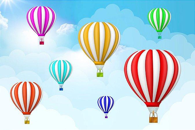 Painel de Festa em Tecido Sublimado 3d Balões Coloridos
