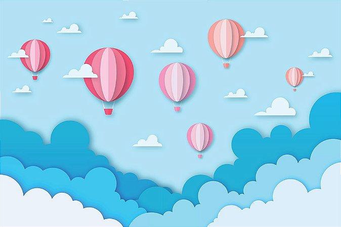 Painel de Festa em Tecido Sublimado 3d Balões Rosas nas Nuvens