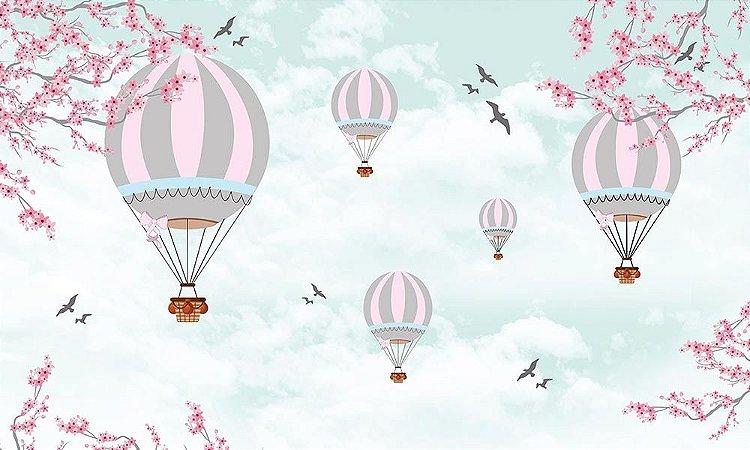 Painel de Festa em Tecido Sublimado 3d Balões Paisagem