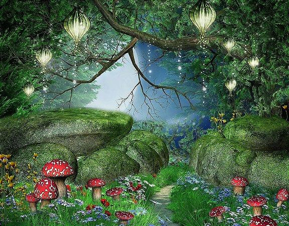 Painel de Festa em Tecido Sublimado 3d Bosque da Fantasia