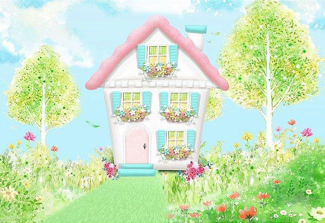 Painel de Festa em Tecido Sublimado 3d Casa de Boneca Bosque Encantado Aquarela
