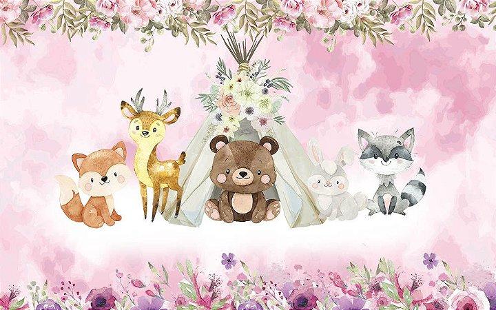 Painel de Festa em Tecido Sublimado 3d Animais bosque mágico rosa