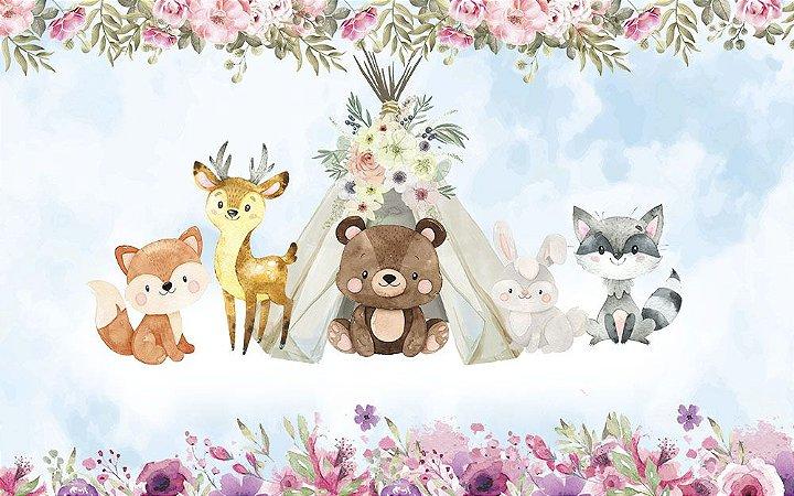 Painel de Festa em Tecido Sublimado 3d Animais Bosque Mágico