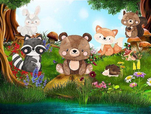 Painel de Festa em Tecido Sublimado 3d Animais Bosque Mágico Mod2