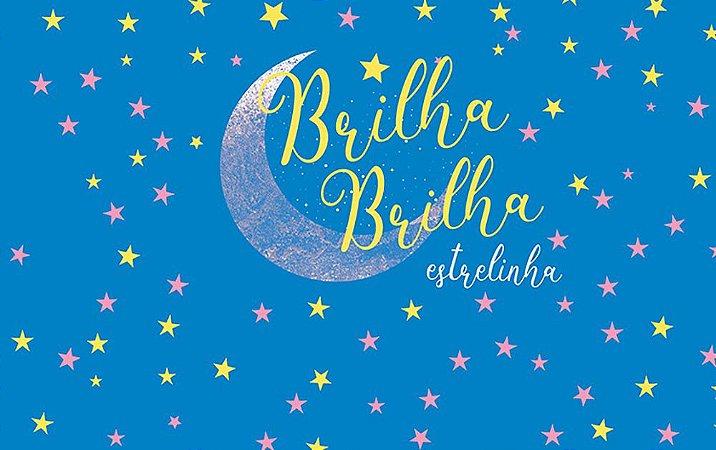 Painel de Festa em Tecido Sublimado 3d Brilha Brilha Estrelinha Fundo Azul