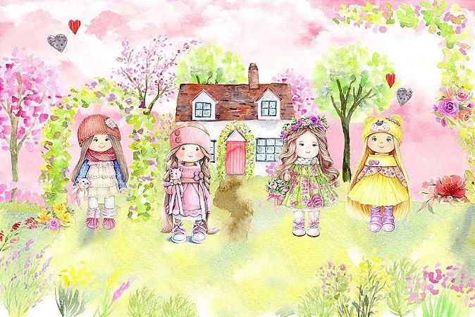 Painel de Festa em Tecido Sublimado 3d Bonecas Russas Fundo Rosa