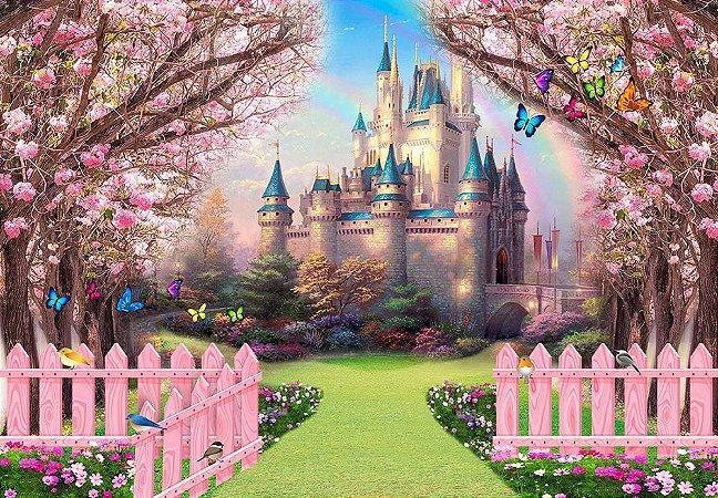 Painel de Festa em Tecido Sublimado 3d Caminho Encantado Castelo