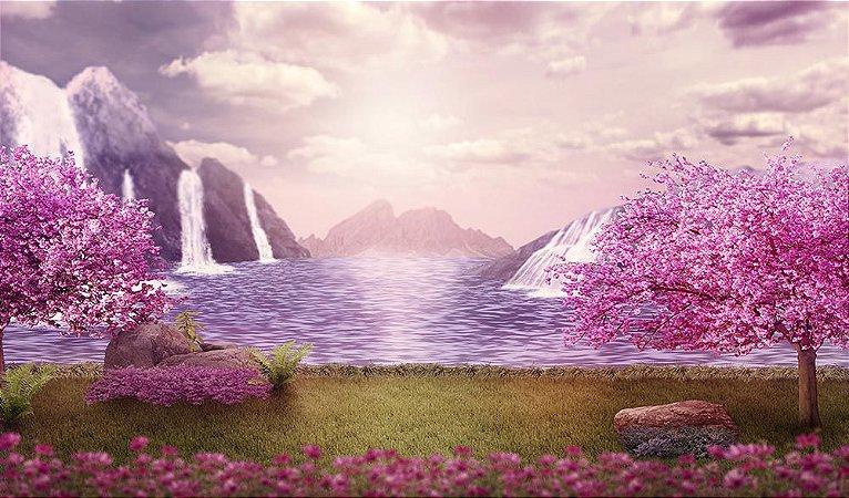 Painel de Festa em Tecido Sublimado 3d Cachoeiras e Ipês