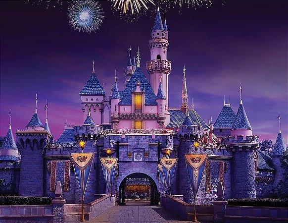Painel de Festa em Tecido Sublimado 3d Castelo e Fogos