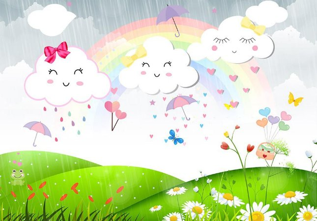 Painel de Festa em Tecido Sublimado 3d Chuva de Amor no Campo