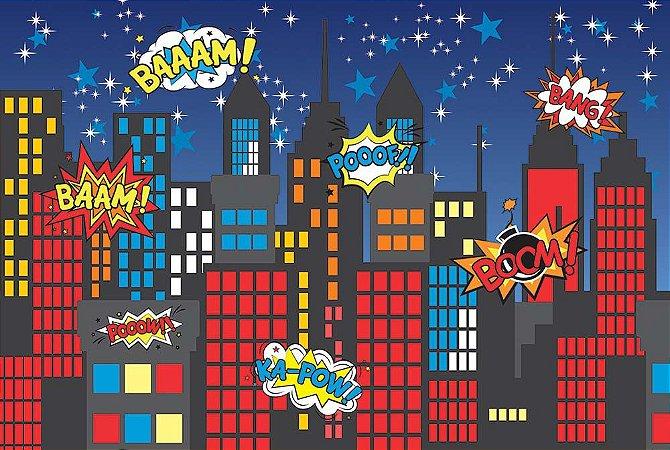 Painel de Festa em Tecido Sublimado 3d Cidade Noturna