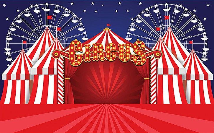Painel de Festa em Tecido Sublimado 3d Circo com Roda