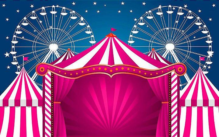 Painel de Festa em Tecido Sublimado 3d Circo Rosa